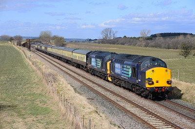 37607+37409 hammer past Staingills with Pathfinder's Dumbarton-Exeter return Scottish Easter weekend tour 1/4/13.