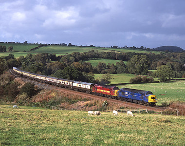 37047 + 37109 with a Carlisle-Bristol charter near Armathwaite 2/10/04.