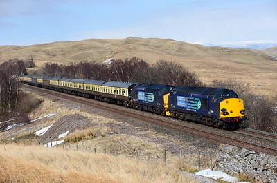 After an hour's break in Appleby 37607+37409 head along the Mallerstang valley 1/4/13.