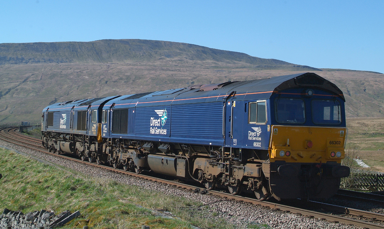 All Done. Job finished. Locos and crew are off home to the DRS  depot at Carlisle.  Wagons remain at RHQ until the morrow ! 19th April 2018.  15.32hrs.  66302+ 66424.