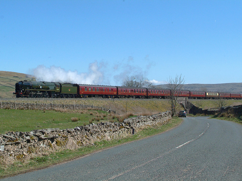 """Resisting the urge to return """" home """" for an overdue cup of tea, I waited by the roadside as the steam was due imminently. 35018  April 20th 2018 14 39hrs. 1Z65 09.16 Scarborough-Carlisle."""