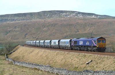 "This is the Ribblehead version of the  "" all-over blue sky "" forecast. More like all-over white with a bit of brightness. Still it was the best ,ie only , shot of the stone at this location out of 5 possibles during the week. 66725  24.3.2017 13.35hrs. 6M33 12.12 Arcow Quarry-Pendleton ( Brindle Heath ) GBRf. Mega surprise meeting here today with one of the old gang...Peter J Robinson. Combined ages over 150 years .Time to give up ? Never !"