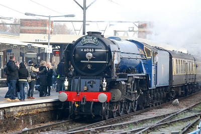 'Tornado'. newly painted in BR experimental blue livery, at Shenfield on 2nd Dec 2012 working from Ipswich to Bath and back.