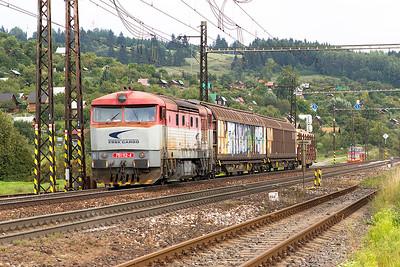 Grumpy 751 112 arrives at Liptovský Mikuláš with a short westbound trip freight. Wednesday 6th September 2017