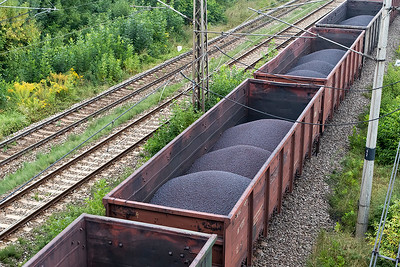 The broad gauge wagons containing the iron ore pellets bound for Haniska steel works. Friday 8th September 2017.
