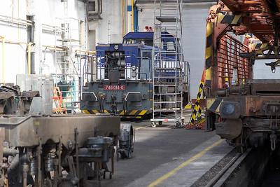 746 014 receives attention in the depot at Haniska. Friday 8th September 2017.