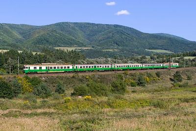 EMU 460 041 forming train 7820 14.13 Kosice to Poprad-Tatry all staions stopping service has just departed from Kluknava station. Friday 8th September 2017.