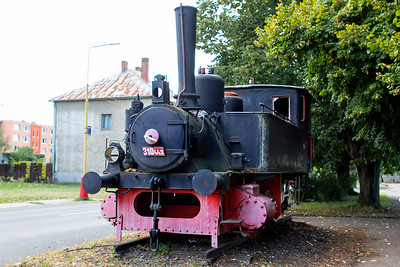 310 443 built 1898 by MAV is plinthed outside Čierna nad Tisou station. Thursday 7th September 2017.