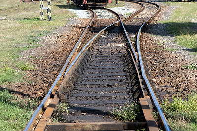 A broad gauge and standard gauge point leading to the inspection shed. The broad gauge is on the left. Not quite sure how this actually works! Haniska Depot, Friday 8th September 2015