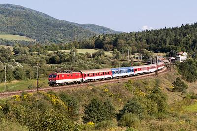 "350 012 heads train R 610 ""Novofruct"" 14.08 Kosice to Bratislava past Kluknava. Friday 8th September 2017."