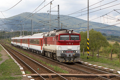 757 022 runs through Kalša station with train REX 1903 13.01 Kosice to Humenné. Thursday 7th September 2017.