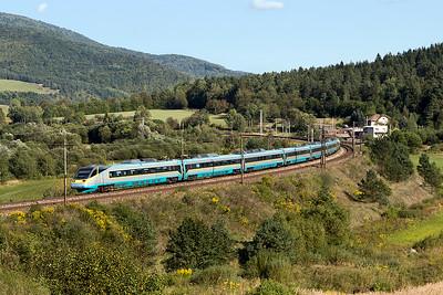 CD Pendolino 680 002 passes Kluknava forming train240 15.03 Kosice to Praha. Friday 8th September 2017.