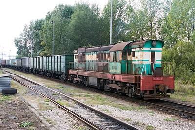 A very weather beaten 771 802 shunts broad gauge wagons in the yard at Maťovské. Thursday 7th September 2017.