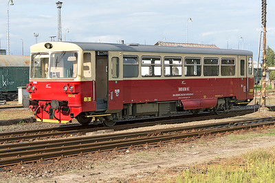 810 674 has been converted to broad gauge and is used by ZSSK Cargo as staff transport, seen at it's home depot of Čierna nad Tisou. Thursday 7th September 2017.