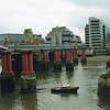 SERVICE CHANGES - the remains of the 1864 bridge at Blackfriars - March 09.