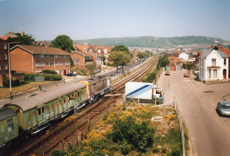 Class 20 weedkiller in action on the Folkestone Harbour branch in the spring of 88.
