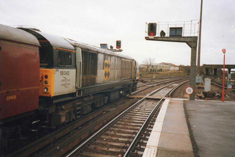 58042 at Ramsgate on 21/12/91 with The Man of Kent railtour.
