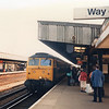 The 13 45 Dover Western Docks to Liverpool Lime Street arrives into Ashford on 16/04/87 with 47575.