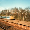 An NSE coloured 4-VEP arrives into St Mary Cray on 26/04/88 whilst working the 07 53 Victoria to Dover Priory.