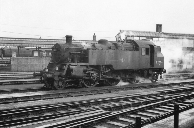 When the Cambrian lines were dieselized in 1965 all but three of the BR 3MT's were scrapped. Those three were transferred to Nine Elms but two were in such a run down condition they were withdrawn from service immediately - 82006, the lone survivor (still retaining her WR green livery), was at Clapham Yard on 07/02/66.