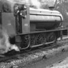 0-6-0ST WD 195 at Liss preparing to haul The Longmoor Military Railtour onto army metals on 16/04/66.