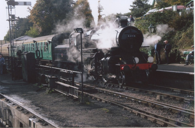 Ready for the off - Ivatt 4MT 43106, previously caught on a Blackpool portion, is at Ropley with the 14 10 Alresford to Alton.