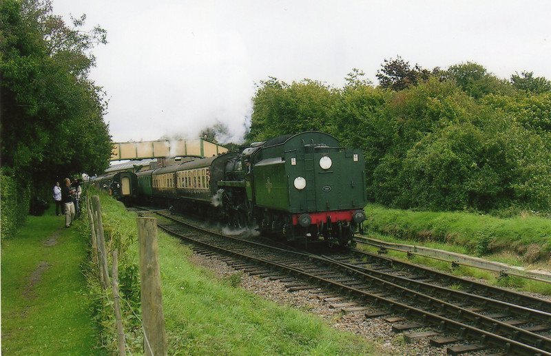 Standard 73096 gets into her stride upon heading west out of Ropley on 10/09/10