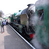 Withdrawn from Eastleigh in August 62 30850 Lord Nelson takes water at Ropley on 27/03/11.