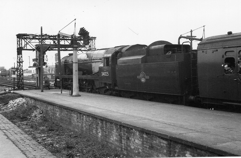The Hampshire Lines Railtour of 09/04/67 calls at Basingstoke with WC 34025 Whimple in charge.
