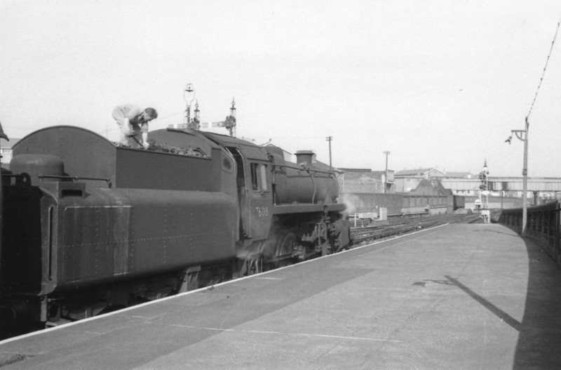 Two weeks prior to the dieselisation of the services Eastleigh, on 22/05/65,  allocated Standard Mogul 76016 waits at Portsmouth and Southsea with the 17 45 departure for Cardiff Central. This Eastleigh loco was subsequently transferred to Guildford from where she was withdrawn in October 66.