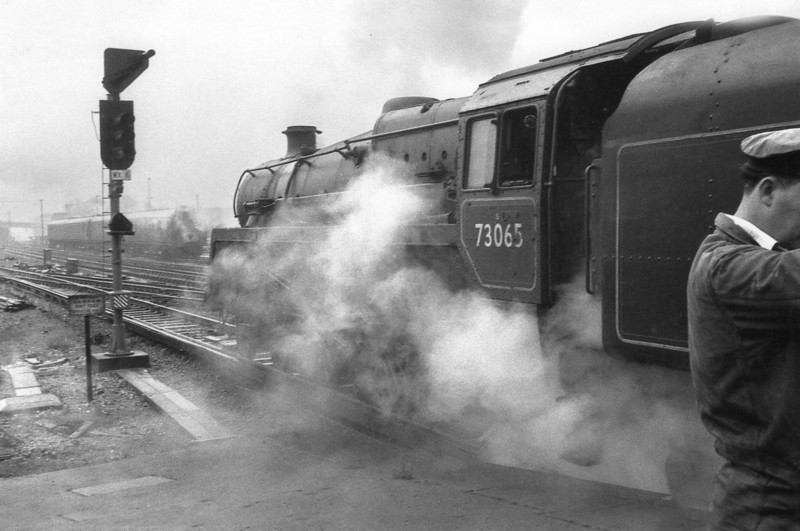 Ex ER now Guildford allocated BR Standard 5MT 73065 is seen calling at her home station on 13/11/66 with the SCTS West Country Special - she was to last until the end of July 67.