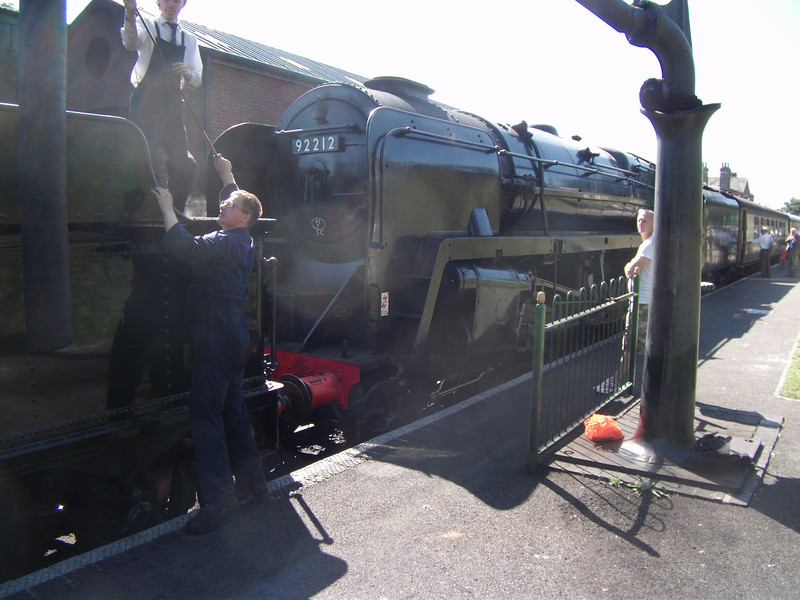 Crew change at Ropley on BR9F 92212 on 07/09/12.