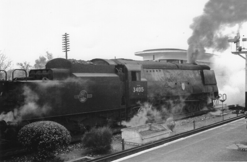 "Ascot and ""The Shakespearian Rail Tour"" of 12/11/66 calls for a photo shoot with Salisbury's 34015 Exmouth in charge."