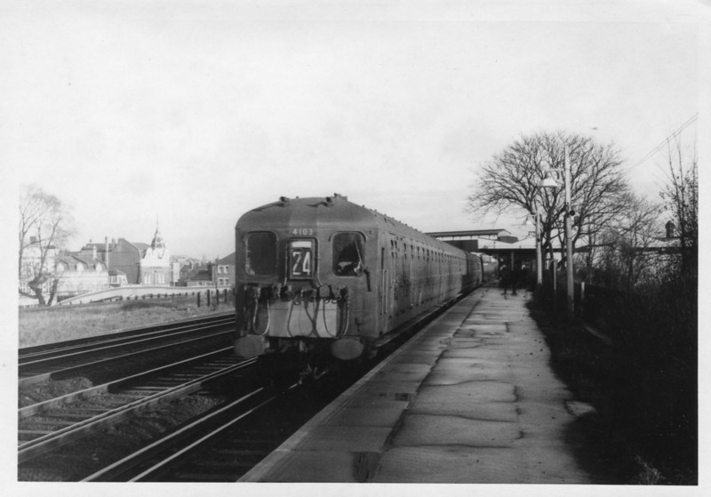 """Knee knocker"" (so nicknamed because of the restricted space between seats) 4 SUB 4103 departs Raynes Park during 1967."