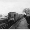 """""""Knee knocker"""" (so nicknamed because of the restricted space between seats) 4 SUB 4103 departs Raynes Park during 1967."""