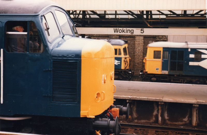 The visiting 45143 at Woking with with 13 10 Waterloo to Exeter St Davids on 11/06/85