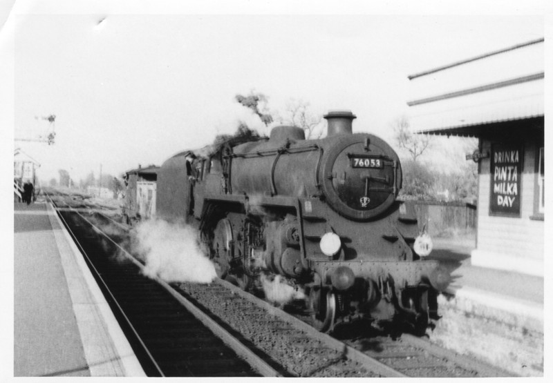BR Standard 4MT 2-6-0 76053 with a pick up freight at North Camp on 07/11/64 - she was to survive at Guildford until December 66.