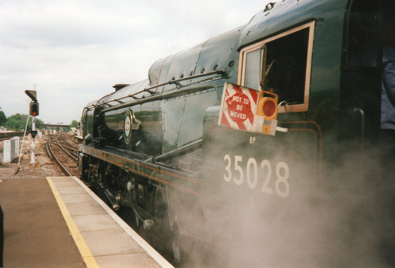 Celebrating my 50th I travelled on the Surrey Hills VSOE luncheon trip with Merchant 35028 Clan Line - calling at Guildford for water on 23/05/97.