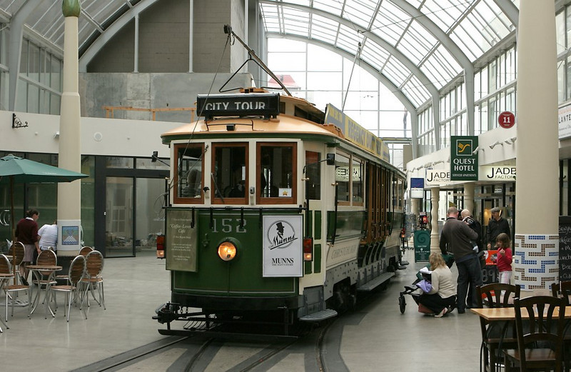 Probably the only trolley line to run right through a mall, this car stops right on the doorsteps of a cafe. The switch leads to the car barn in a side street.