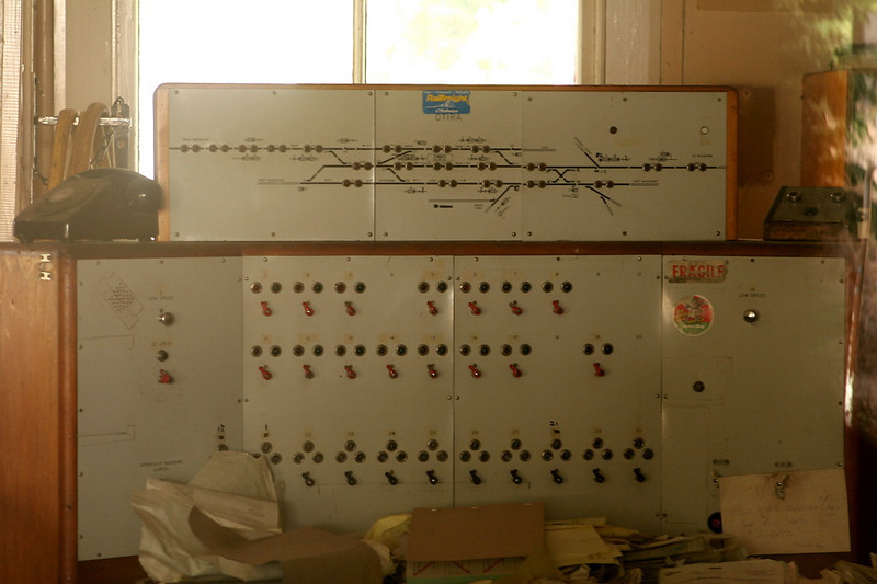 Caught in a time warp, the CTC machine in the dispatcher's office.