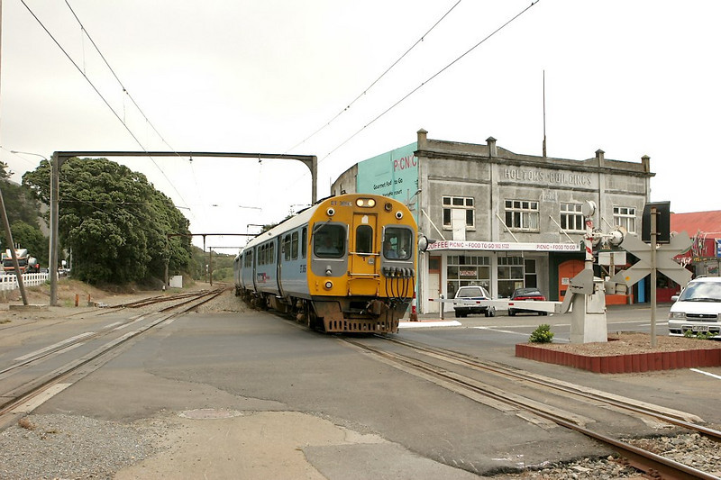 Northbound commuter train slowing for Paekakariki station.