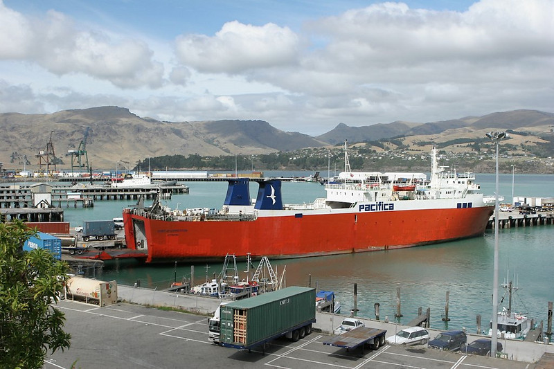 A Ro-Ro ship in Lyttelton Harbor, Christchurch, SI.