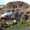 SP 4449 crossing the Deschutes River near Shears Bridge Oregon.