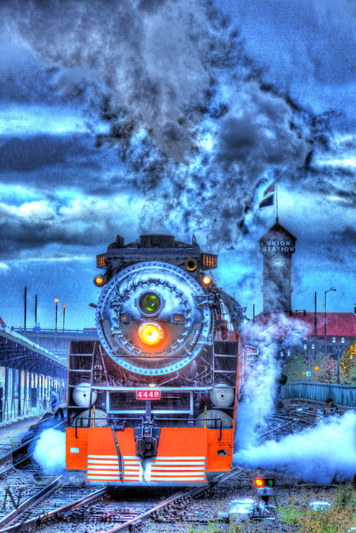 SP 4449 switching in Portland Oregon. HDR image.