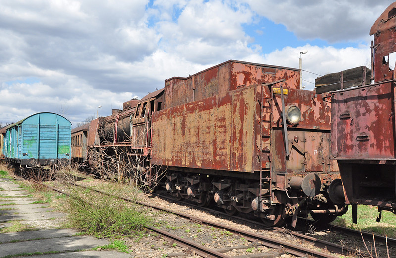 PKP PT47-101 stands outside Krakow Plaszow roundhouse awaiting its fate. This locomotive was built in 1948, one of 180 constructed for express passenger trains.