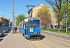 Tram 423 type Konstal 105a on service 3 to Biezanow Nowy is seen at a stop in B Limanowskiego.
