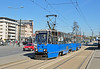 Tram 782 departs Plac Bohaterow Getta on service 24 to Kurdwanow, Krakow 26/04/2012.