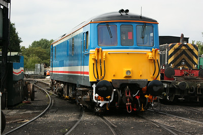 73140 departs the shed at Tunbridge Wells West showing its partially completed NSE repaint, 2/8.14