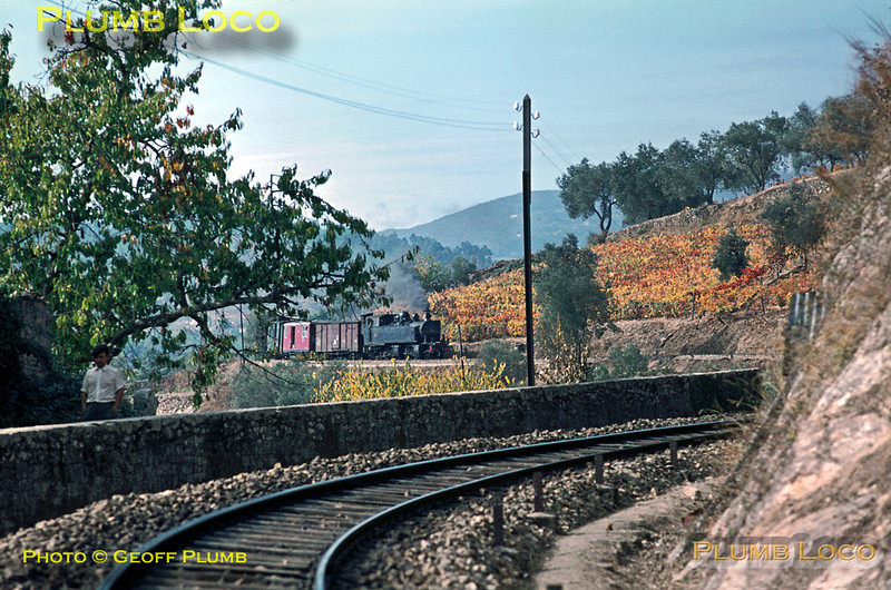 E206 is descending the curves around the hills at it drops down to Carrazedo with its mixed train, the 14:04 from Vila Real to Régua, Wednesday 4th November 1970. Slide No. 5779.