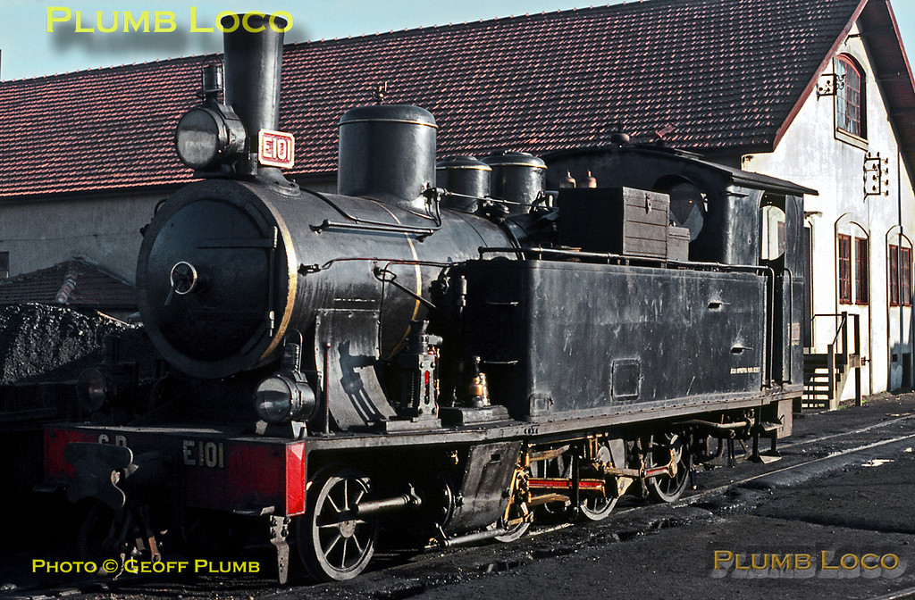 CP No. E101 was a 2-6-0T built by Kessler in 1907 and is seen here simmering in the yard at Porto Boa Vista on the evening of Sunday 2nd November 1969. Slide No. 4310.